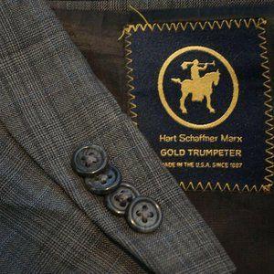 Hart Schaffner Marx Gold Trumpeter Gray Plaid coat